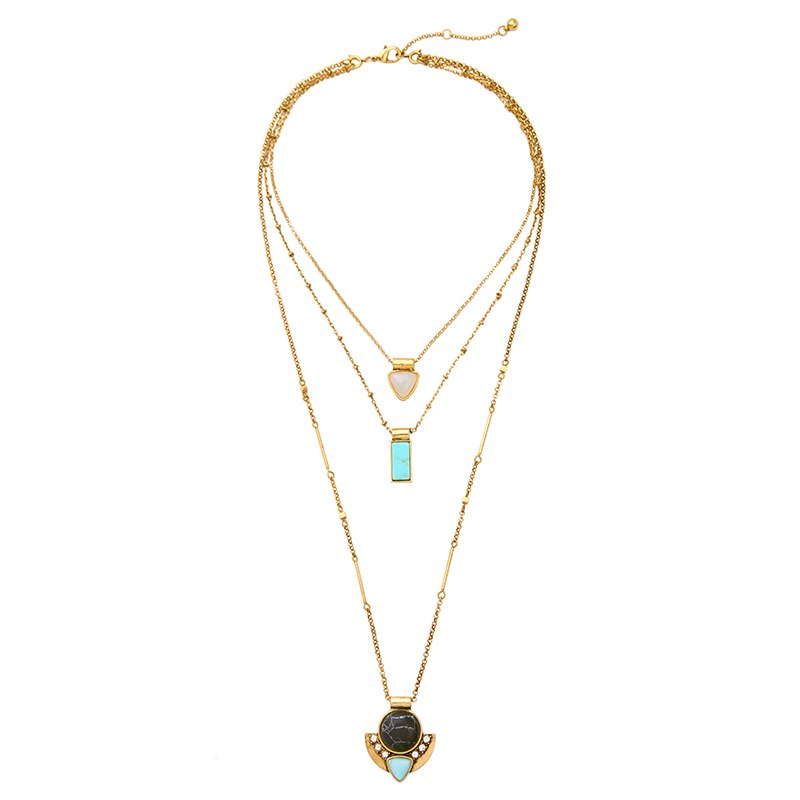 Layered Necklace Antique Gold