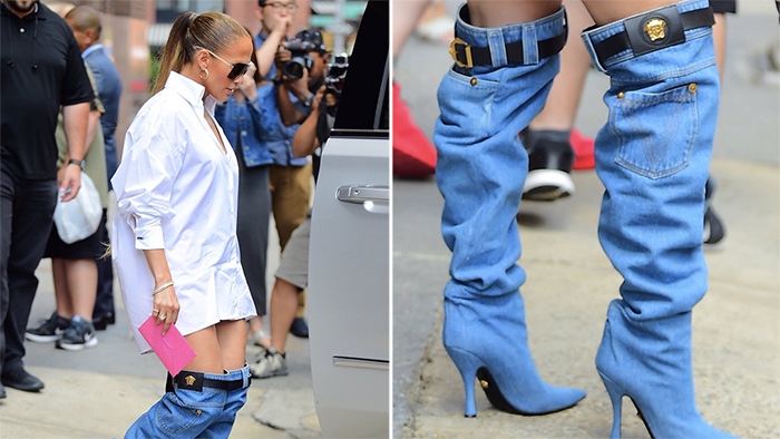 Jennifer Lopez Versace denim boots