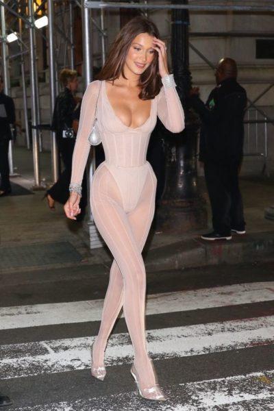 Bella Hadid Nude Catsuit